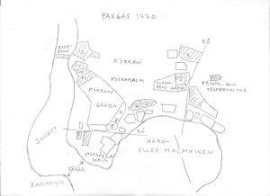 Karta över Gamla Malmen i Pargas på 1770-talet.